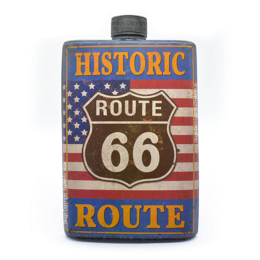 Large Hip Flask Metal Sign Route 66