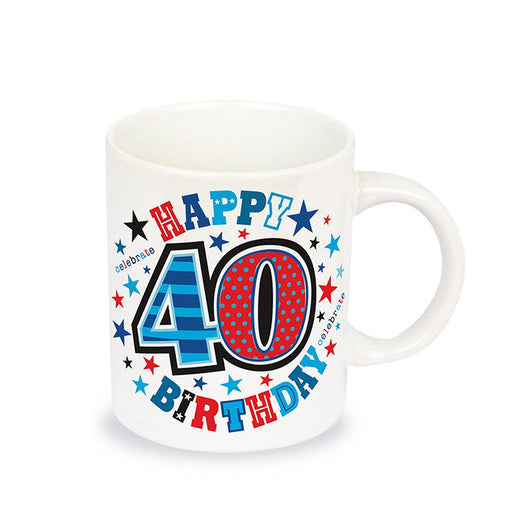40th Birthday Mug Fine China Colourful