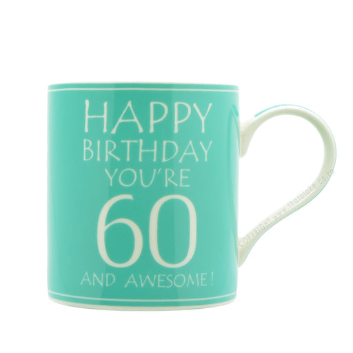 60th Birthday Mug Mint Green 60 And Awesome Image