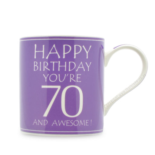 70th Birthday Gift Mug Happy Birthday Purple
