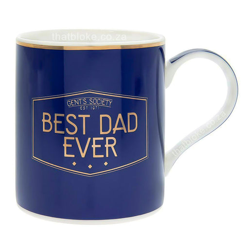 Gent's Society Best Dad Ever Gift Mug For Men Navy Blue and Gold