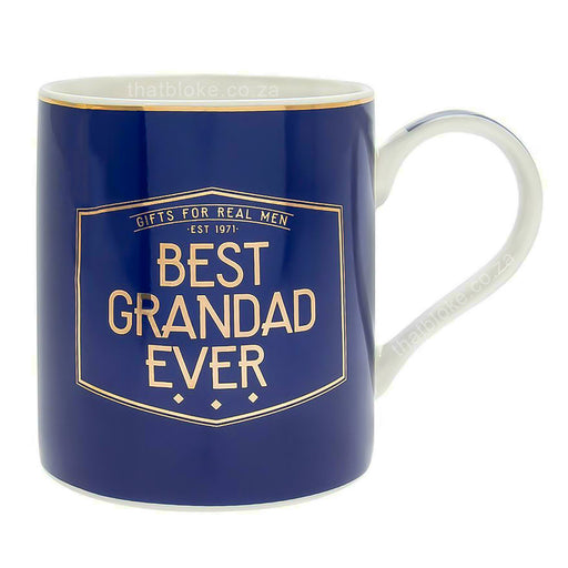 Gent's Society Best Grandad Ever Gift Mug For Men Navy Blue and Gold