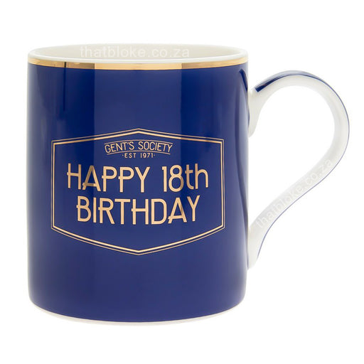 Gent's Society Happy 18th Birthday Gift Mug For Men Navy Blue and Gold