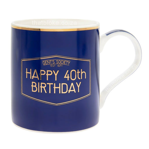 Gent's Society Happy 40th Birthday Gift Mug For Men Navy Blue and Gold