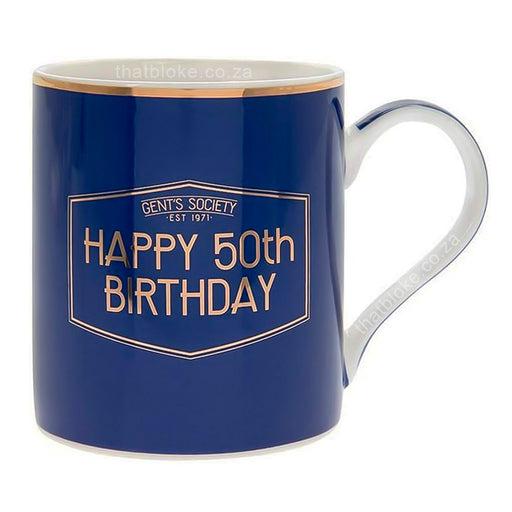 Gent's Society Happy 50th Birthday Gift Mug For Men Navy Blue and Gold