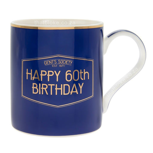 Gent's Society Happy 60th Birthday Gift Mug For Men Navy Blue and Gold