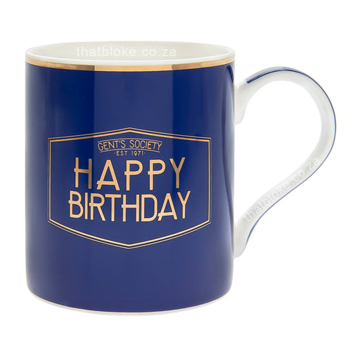 Gent's Society Happy Birthday Gift Mug For Men Navy Blue and Gold
