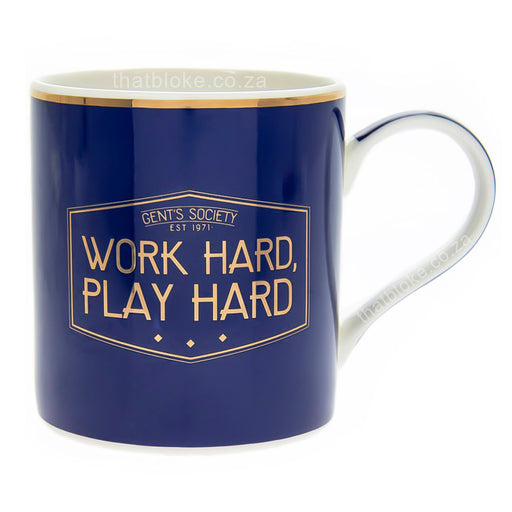 Gent's Society Work Hard Play Hard Mug Men's Gift Navy Blue and Gold