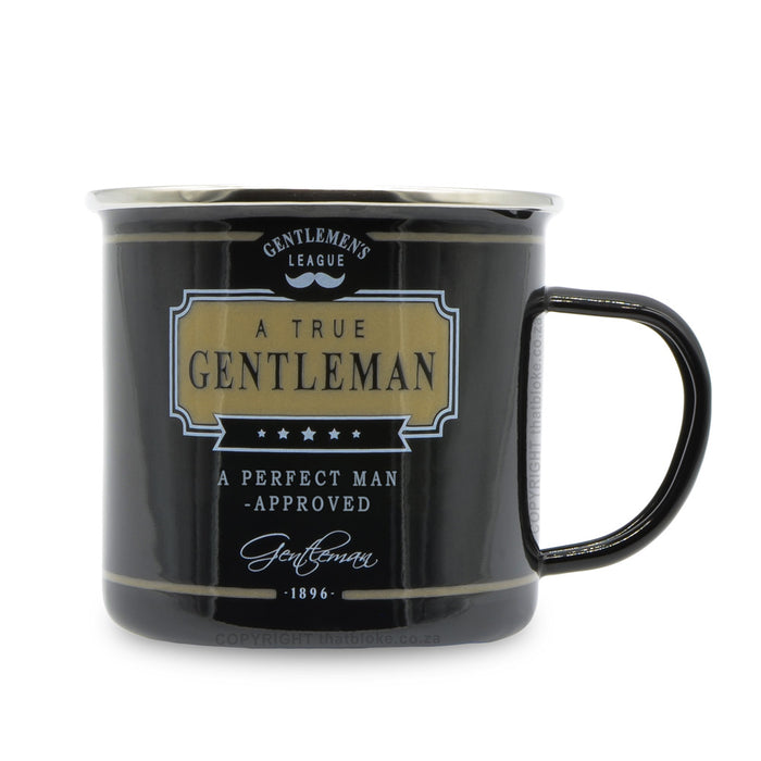 Gentlemen's Tin Gift Mug for Men A Perfect Man Approved