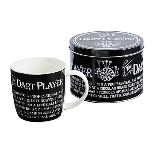 Dart Player Mug Gift Set Tin Box Black White Image