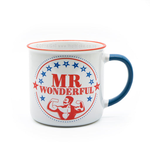 Mr Wonderful Mug Ceramic Red Blue White Image Front