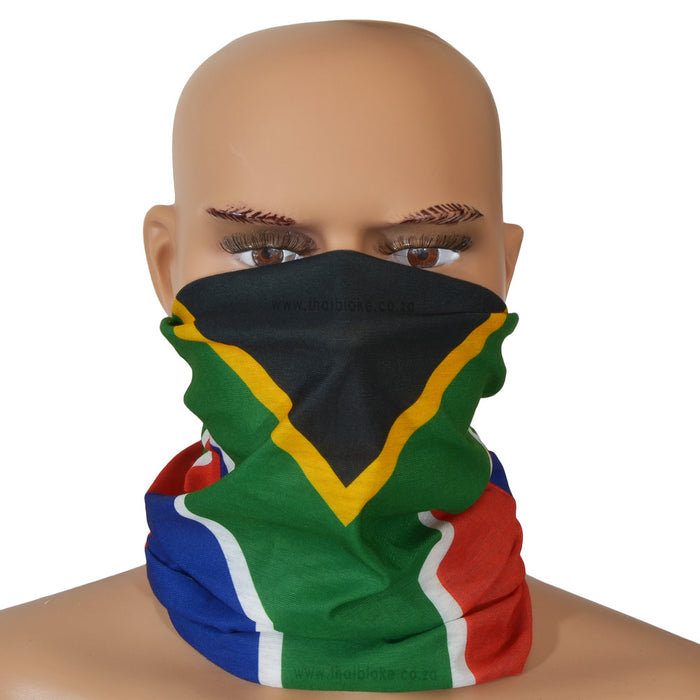 South African Flag Bandana Multi-Functional Buff Image On Face