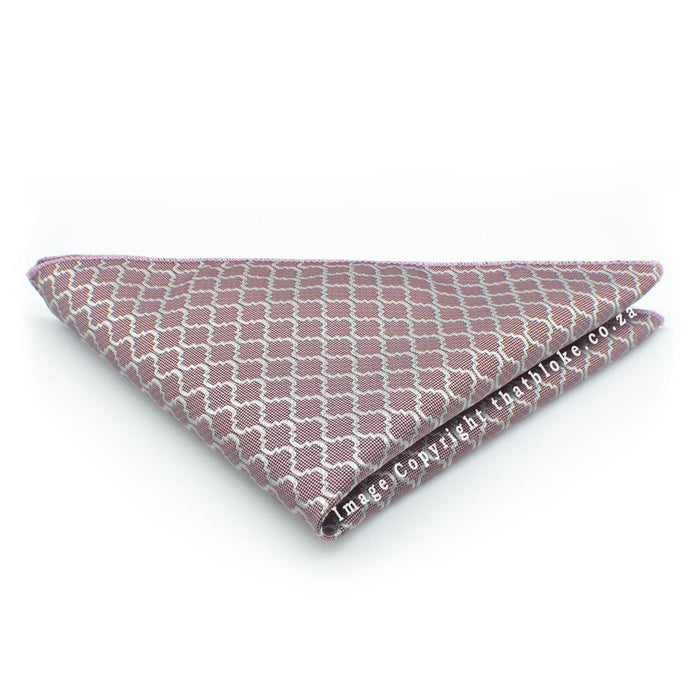 Light Purple Pocket Square With Silver Pattern