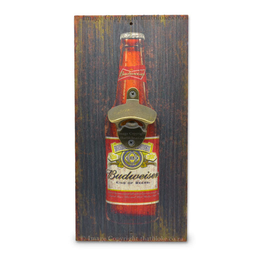 Bottle Shaped Budweiser Beer Bottle Opener Wood
