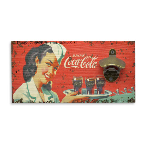 Coca-Cola Nurse Beer Bottle Opener Wall Mounted Retro Wood