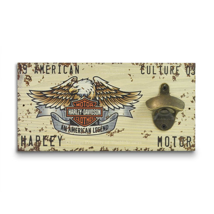 Retro Wall Mounted Beer Bottle Opener - Harley Davidson White | That Bloke