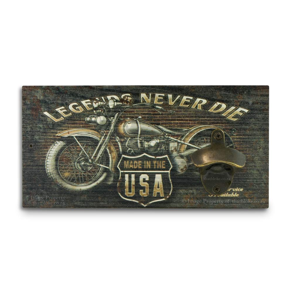 Retro Wall Mounted Beer Bottle Opener - Legends Never Die | That Bloke