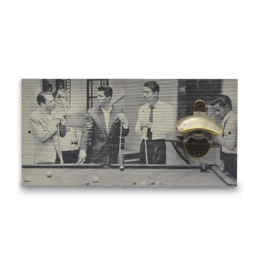 Men Playing Pool Beer Bottle Opener Sport Wall Hanging Wood Image Front