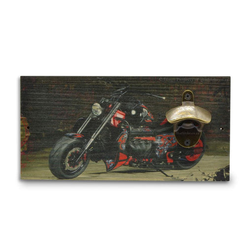 Motorcycle Beer Bottle Opener Wood Wall Mounted Red Image Front