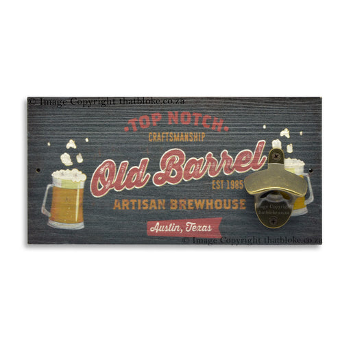 Old Barrel Artisan Brewhouse Beer Bottle Opener Wall Mounted Est 1985
