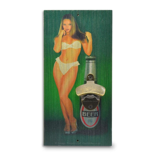 Seductive Women Beer Bottle Opener Wood Image Front Wall Hanging