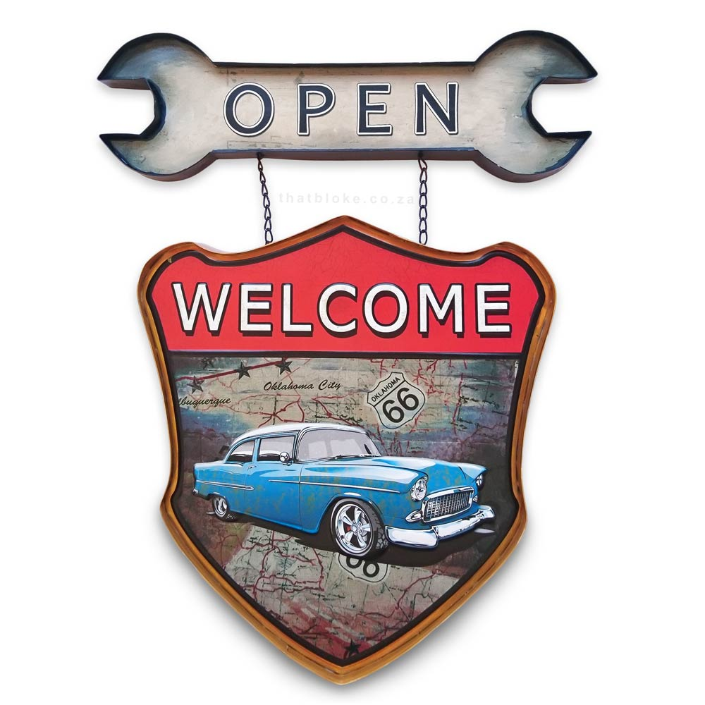 Retro Open Sign - Classic Car on Route 66 | That Bloke