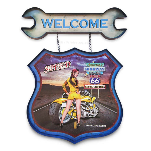 Retro Welcome Sign - Motorcycle with Girl on Route 66 | That Bloke
