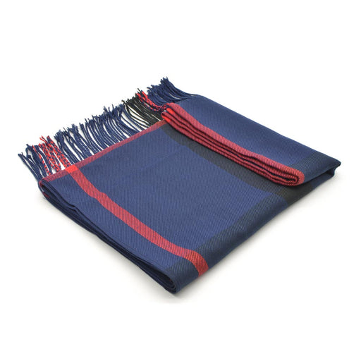 Check Pattern Scarf Navy Blue and Red