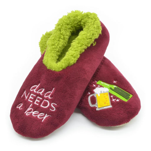 Dad Needs A Beer Snoozies Slippers Maroon