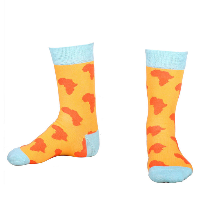 Africa Socks African Continent Cotton Orange Pair Display Image