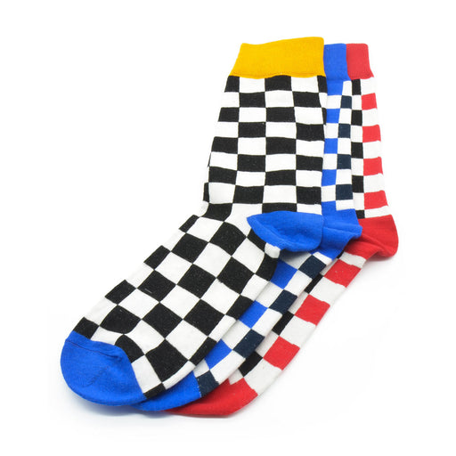 Sassy Socks - Checkerboard Pattern (Red, Blue, Black)