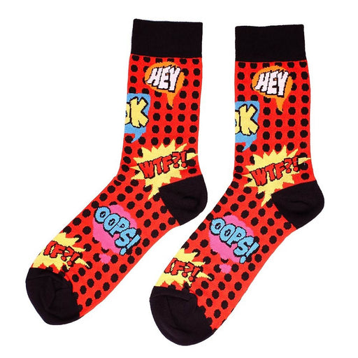 Comic Book Text Bubble Socks Oops Hey WTF Red Cotton