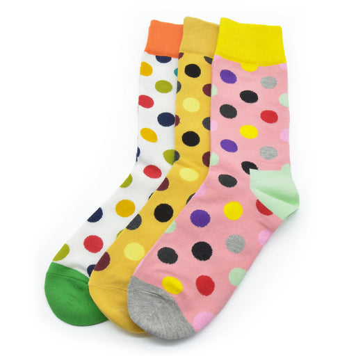 Sassy Socks - Clown Dots (Mustard, Light Pink, White)