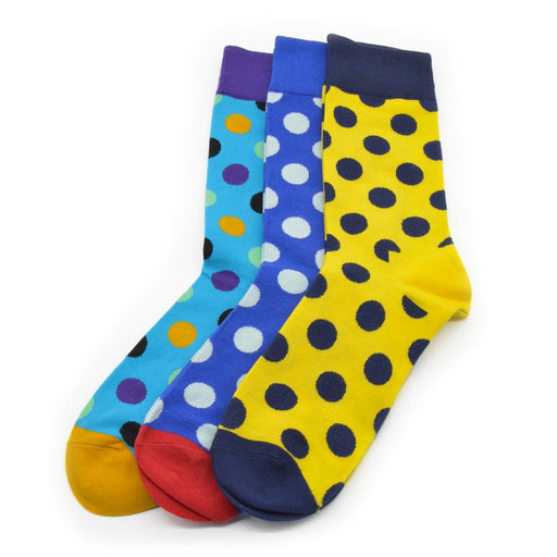 Sassy Socks - Clown Dots (Yellow, Blue, Light Blue)
