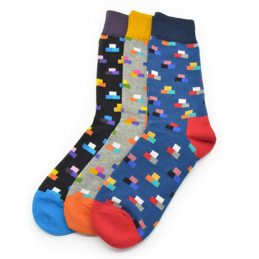 Sassy Socks - Tetris Blocks (Black, Grey, Blue)