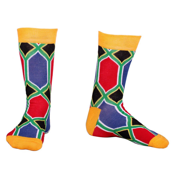 South African Flag Socks Cotton Pair Display Image