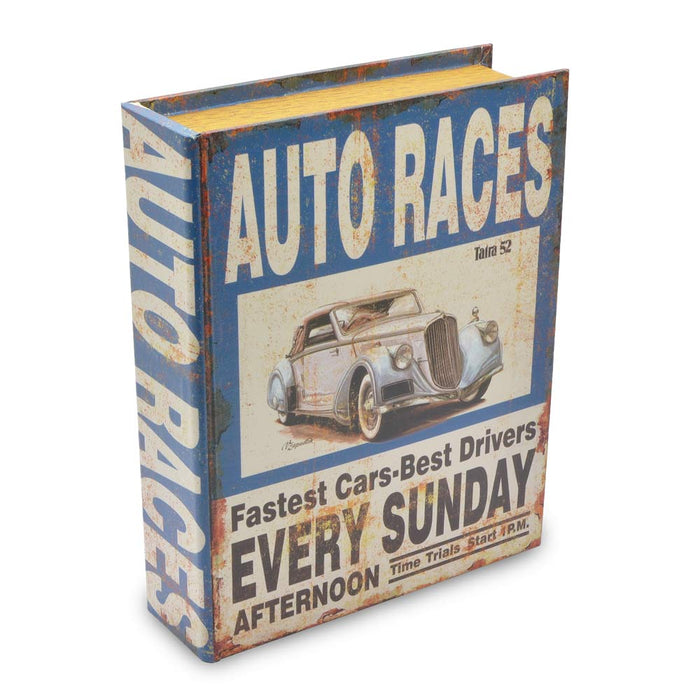 Auto Races Car Storage Box Book Man Cave Blue Large