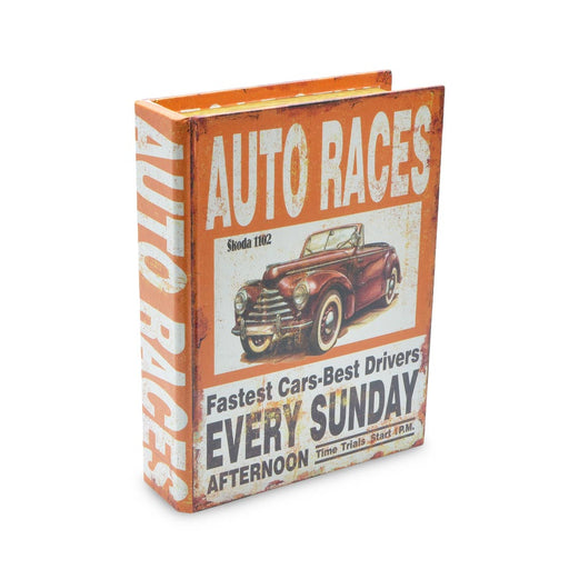 Retro Auto Car Races Storage Box Medium Orange
