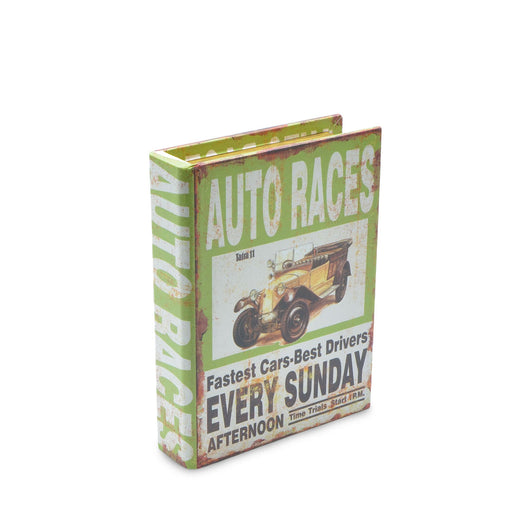 Auto Races Car Storage Box Book Man Cave Green Small