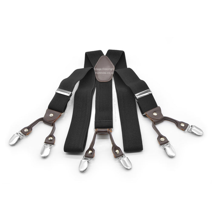 Six Clip Black Suspenders Y-Shape
