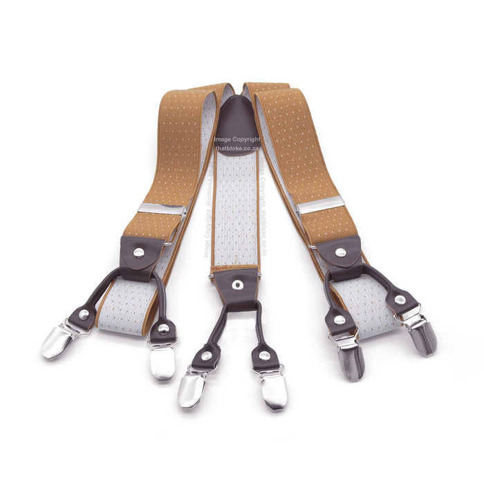 Six Clip Light Brown Suspenders with End-straps Elastic Polyester