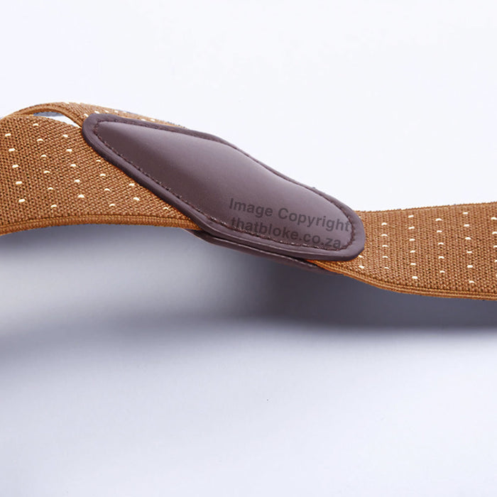 Suspenders Six Clip - Brown Light With White Pin Dots