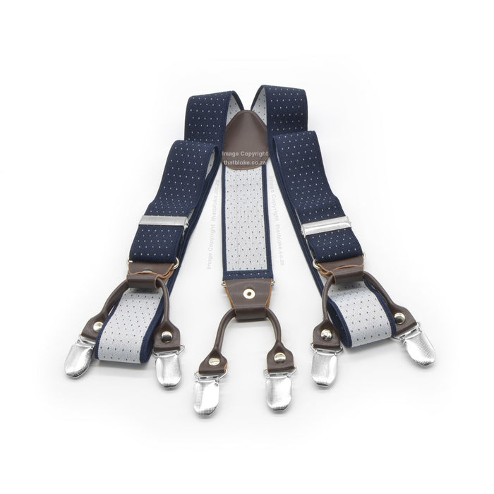 Six Clip Navy Blue Suspenders with Brown End-straps Elastic Polyester