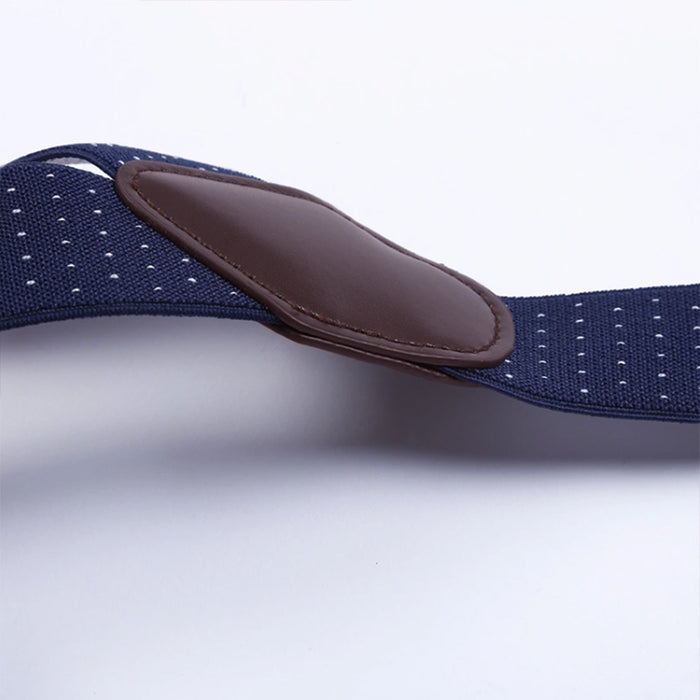 Suspenders Six Clip - Blue Navy With White Pin Dots