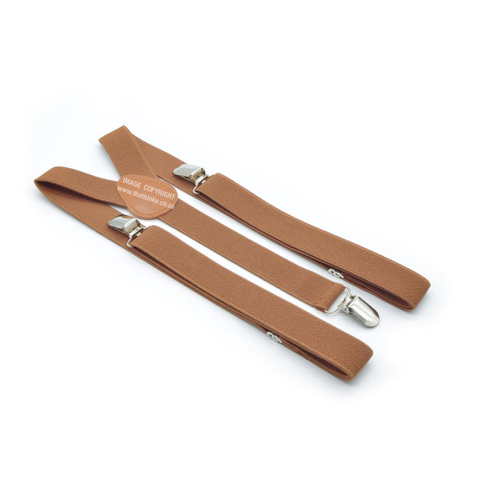 Three Clip Light Brown Suspenders Elastic Polyester