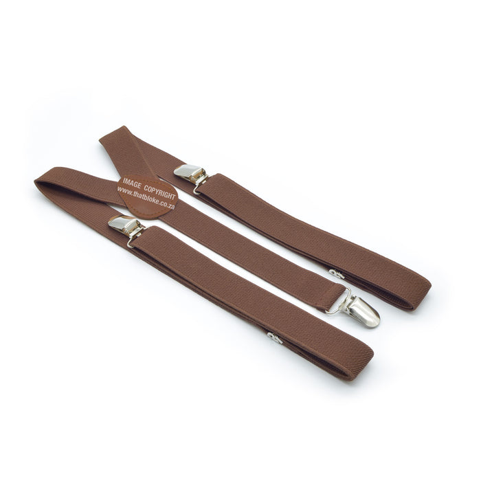 Three Clip Light Chocolate Brown Suspenders With Brown Centre Elastic Polyester