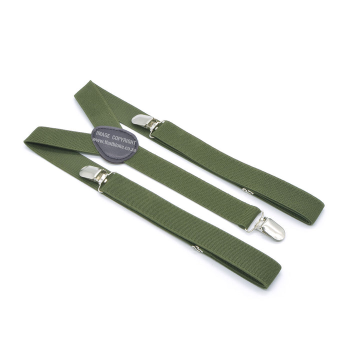 Three Clip Khaki Green Suspenders With Extra Green
