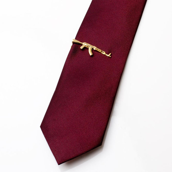 Tie Clip - Weapon AK-47 Machine Gun (Gold)