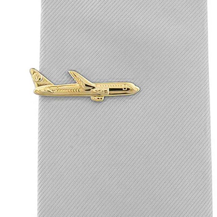 Aeroplane Airplane Tie Clip Gold Image On Tie