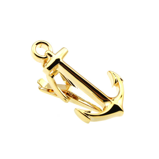 Gold Anchor Tie Clip Front Image